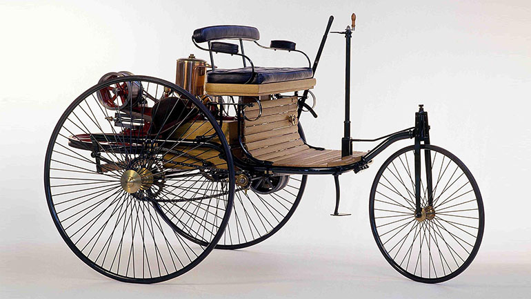 The Benz Patent-Motorwagen (or motorcar), built in 1886, is widely regarded as the first automobile; that is, a vehicle designed to be propelled by a motor.   The vehicle was awarded the German patent, number 37435, for which  Karl Benz  applied on  January 29 , 1886. Following...