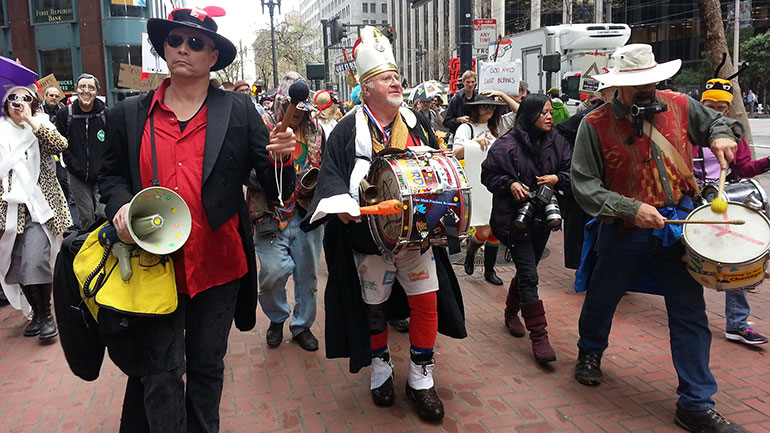 The Saint Stupid's Day Parade is an annual parade in San Francisco on April 1. If April 1 falls on a weekday, the parade starts at the foot of Market Street and follows a route through the financial district. If April 1 falls on a weekend, the parade starts at the Transamerica Pyramid, proceeds up...