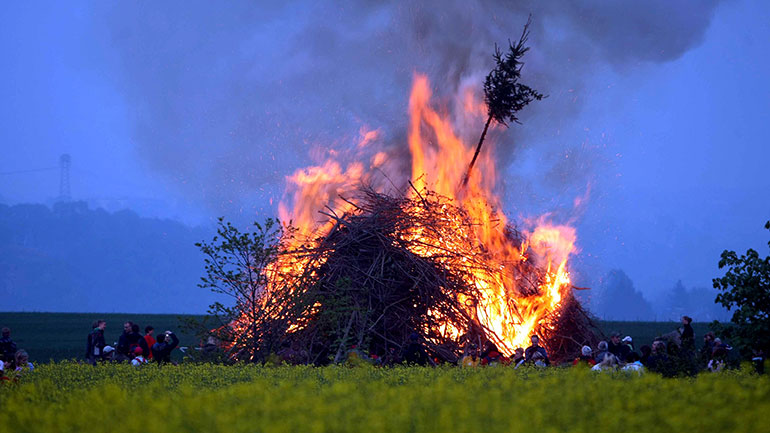 Walpurgis Night  (Walpurgisnacht)  is a traditional spring festival on 30 April or 1 May in large parts of Central and Northern Europe. It is often celebrated with dancing and bonfires. It is exactly six months from All Hallows' Eve. 