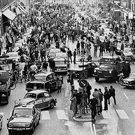 Dagen H (H day), today mostly called 'Högertrafikomläggningen' ('The right-hand traffic diversion'), was the day, 3 September 1967, on which traffic in Sweden switched from driving on the left-hand side of the road to the right. The 'H' stands for 'Högertrafik', the Swedish word for 'right-hand...